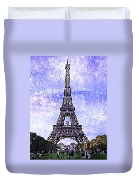 Duvet Cover featuring the photograph Eiffel Tower Paris by Kathy Churchman