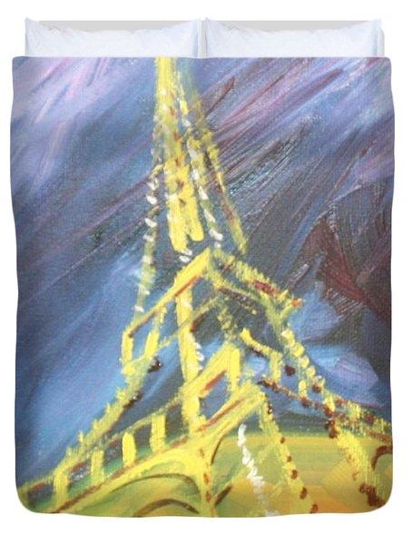 Eiffel Tower Paris Night Duvet Cover by PainterArtist FIN