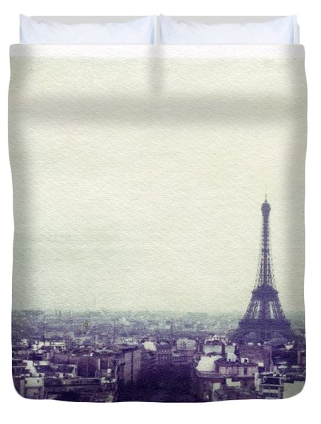 Eiffel Tower Paris Polaroid Transfer Duvet Cover by Jane Linders