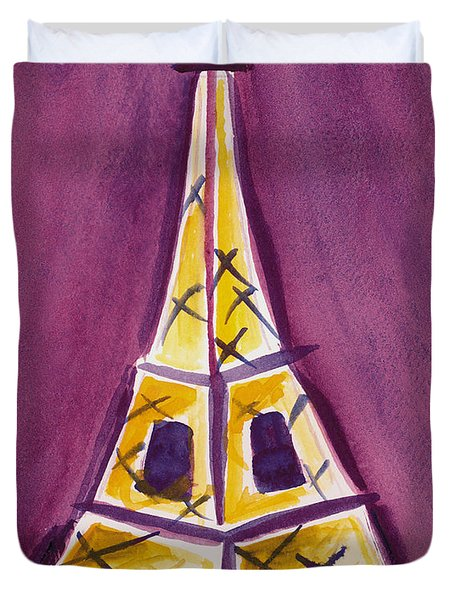 Eiffel Tower Purple And Yellow Duvet Cover