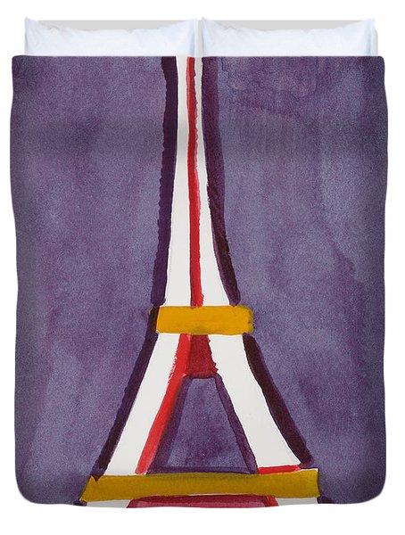 Eiffel Tower Purple Red Duvet Cover
