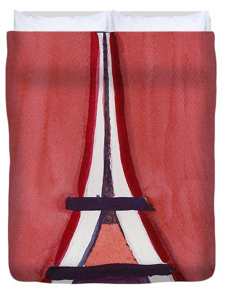 Eiffel Tower Red White Duvet Cover