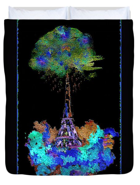 Duvet Cover featuring the painting Eiffel Tower Topiary by Paula Ayers