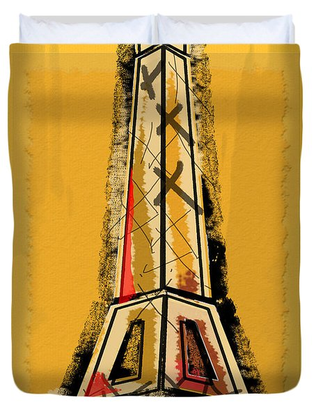 Eiffel Tower Yellow Black And Red Duvet Cover by Robyn Saunders