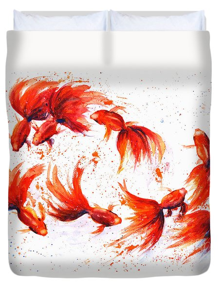 Eight Dancing Goldfish  Duvet Cover
