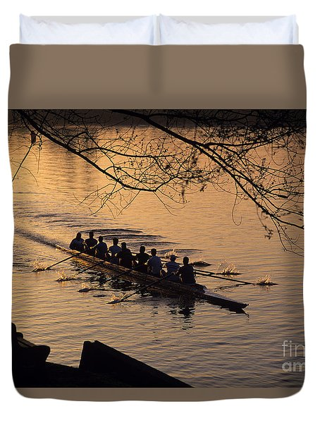 Eight Man Crew Rowing Along Montlake Cut  Duvet Cover