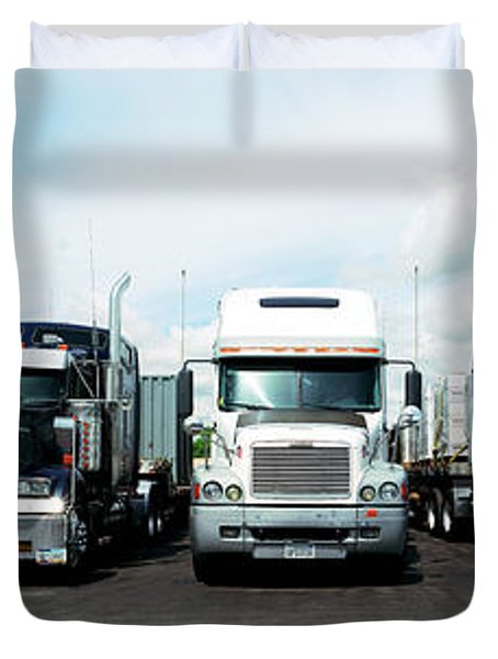 Eighteen Wheeler Vehicles On The Road Duvet Cover