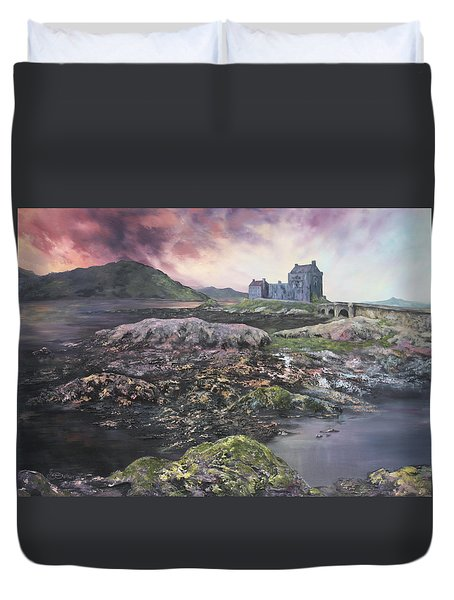 Duvet Cover featuring the painting Eilean Donan Castle Scotland by Jean Walker
