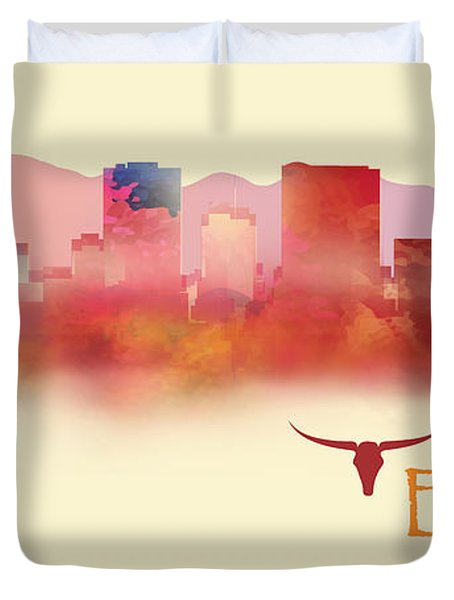 El Paso Texas Skyline Duvet Cover