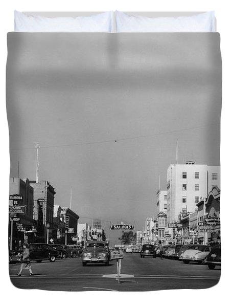 El Rey Theater Main Street Salinas Circa 1950 Duvet Cover