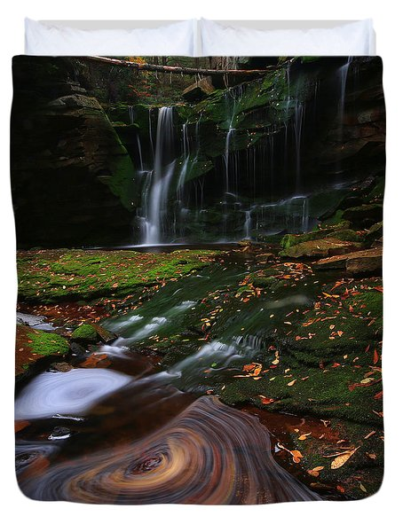 Duvet Cover featuring the photograph Elakala Falls by Jaki Miller