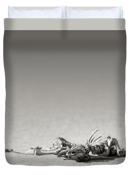 Eland Skeleton In Desert Duvet Cover by Johan Swanepoel