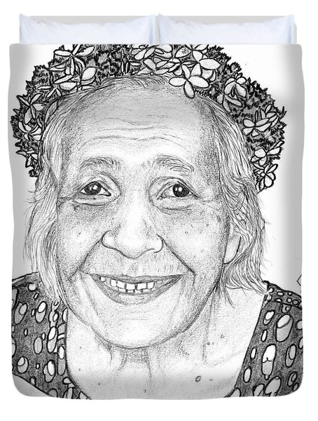 Duvet Cover featuring the drawing Elderly Marshallese Woman by Lew Davis
