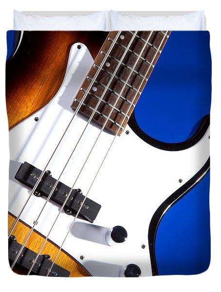 Electric Bass Guitar Photograph On Blue 3322.02 Duvet Cover