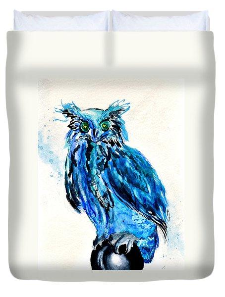 Electric Blue Owl Duvet Cover by Beverley Harper Tinsley