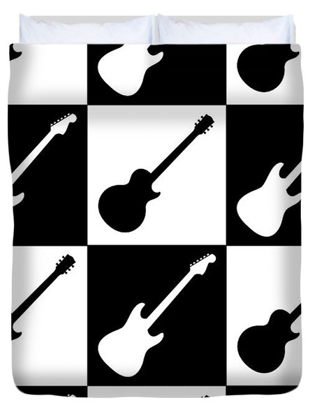 Duvet Cover featuring the painting Electric Guitar Checkerboard by Roz Abellera Art