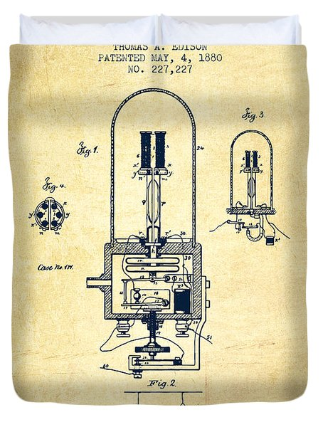Electric Light Patent From 1880 - Vintage Duvet Cover