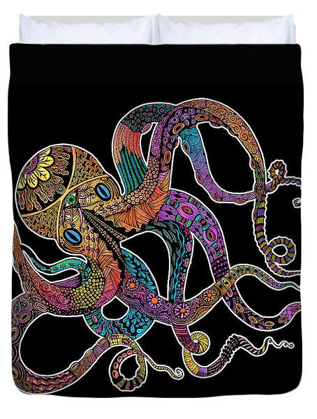 Electric Octopus On Black Duvet Cover by Tammy Wetzel