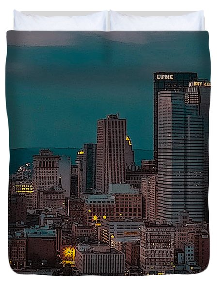 Electric Steel City Duvet Cover