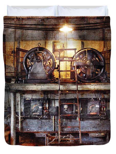 Electrician - Turbine Station Duvet Cover by Mike Savad