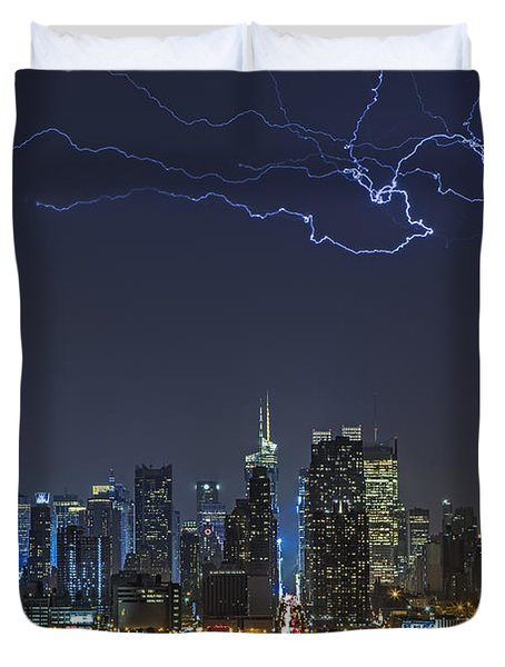 Electrifying New York City Duvet Cover by Susan Candelario