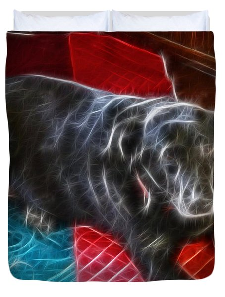 Electrostatic Dog And Blanket Duvet Cover by Barbara Griffin