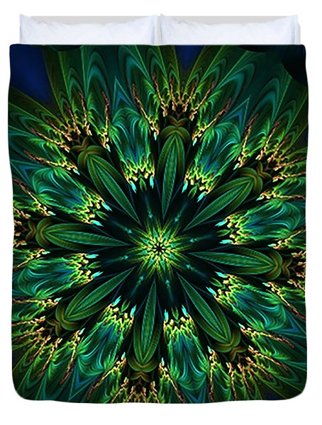 Elegance Green Kaleidoscope Duvet Cover