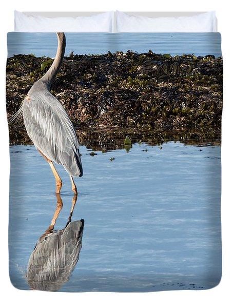 Elegant Heron Duvet Cover