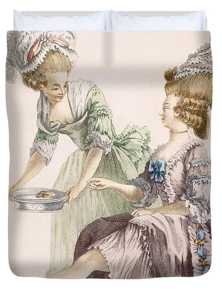 Elegant Lady Having Her Feet Washed Duvet Cover by Pierre Thomas Le Clerc