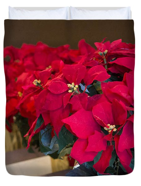 Elegant Poinsettias Duvet Cover