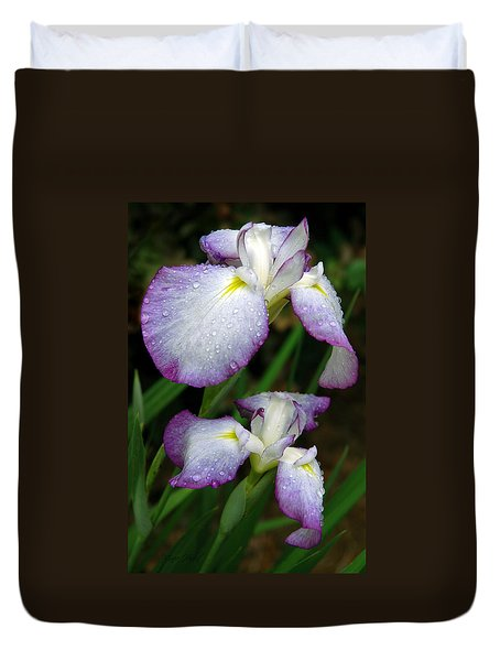 Duvet Cover featuring the photograph Elegant Purple Iris by Marie Hicks