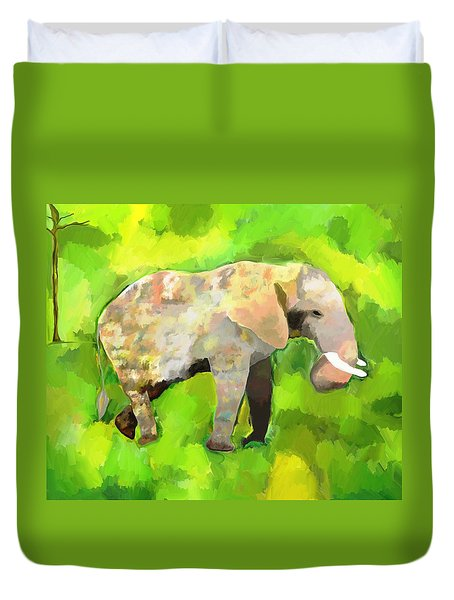 Duvet Cover featuring the painting Elephant 4 by Jeanne Fischer