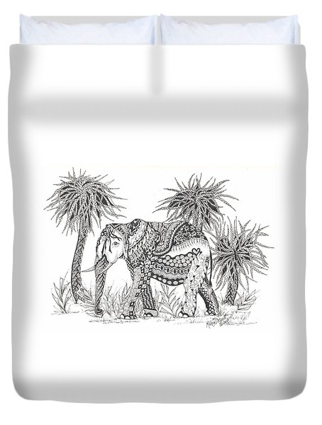 Elephant And Trees Zentangled Duvet Cover