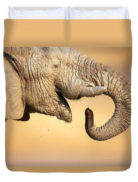Elephant Drinking Duvet Cover