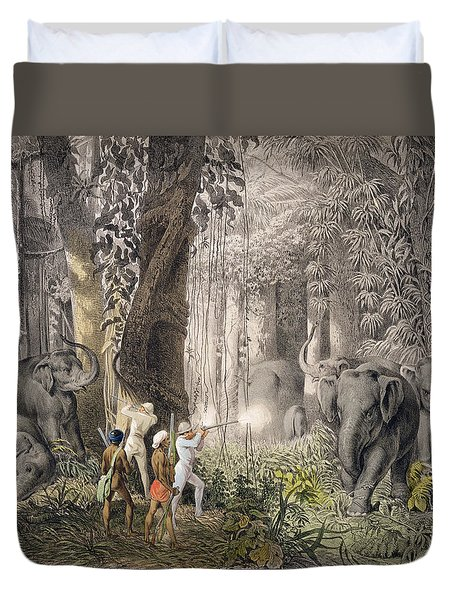 Elephant Hunt In The Region Of Logalla Duvet Cover