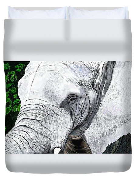 Duvet Cover featuring the painting Elephant II by Jeanne Fischer