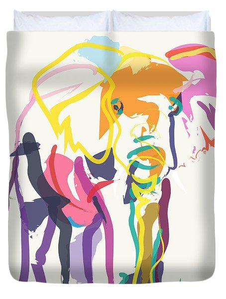 Elephant In Color Ecru Duvet Cover