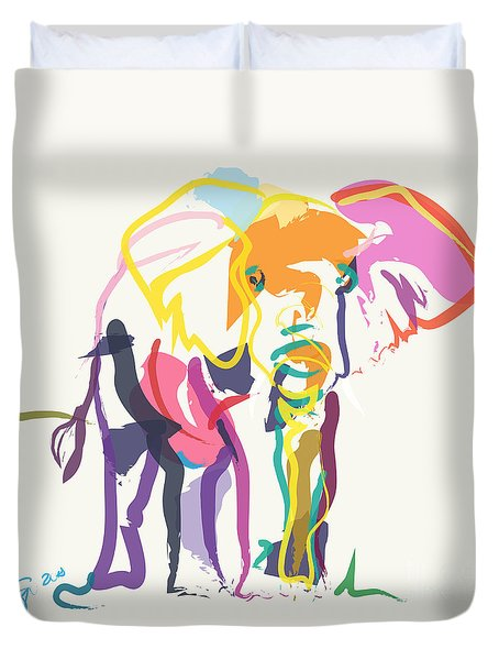 Duvet Cover featuring the painting Elephant In Color Ecru by Go Van Kampen
