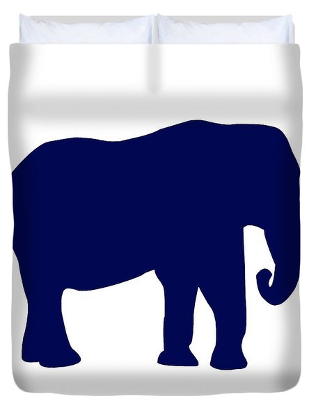 Elephant In Navy And White Duvet Cover