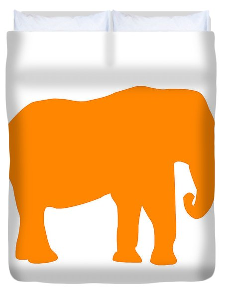 Elephant In Orange And White Duvet Cover