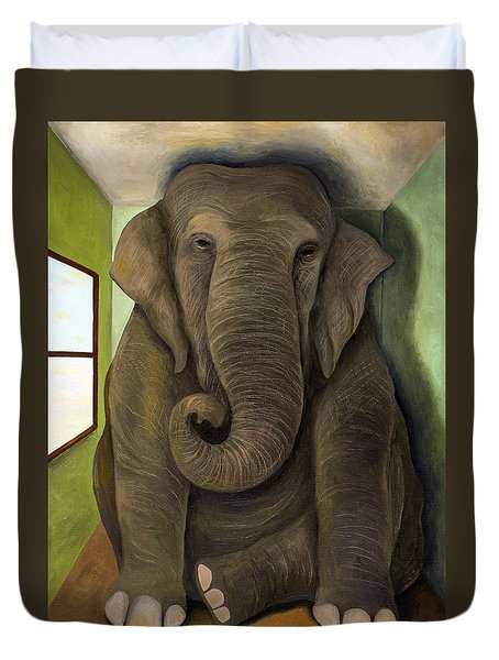 Elephant In The Room Wip Duvet Cover by Leah Saulnier The Painting Maniac