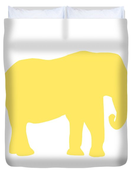 Elephant In Yellow And White Duvet Cover