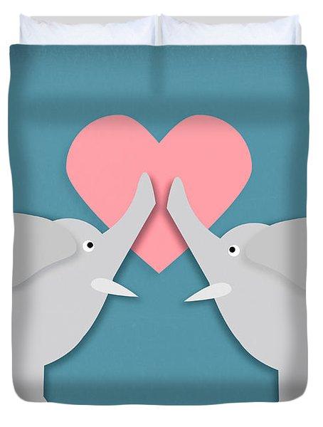 Elephant Love Duvet Cover by Sharon Dominick