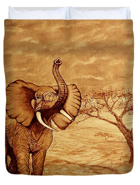Duvet Cover featuring the painting Elephant Majesty Original Coffee Painting by Georgeta  Blanaru