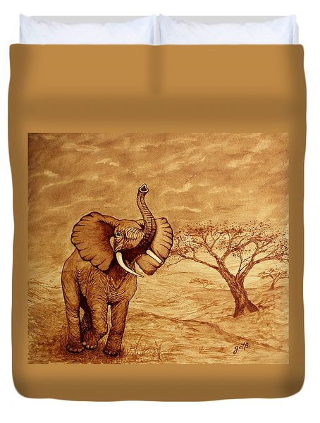 Elephant Majesty Original Coffee Painting Duvet Cover
