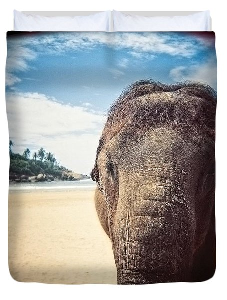 Elephant On The Beach Duvet Cover