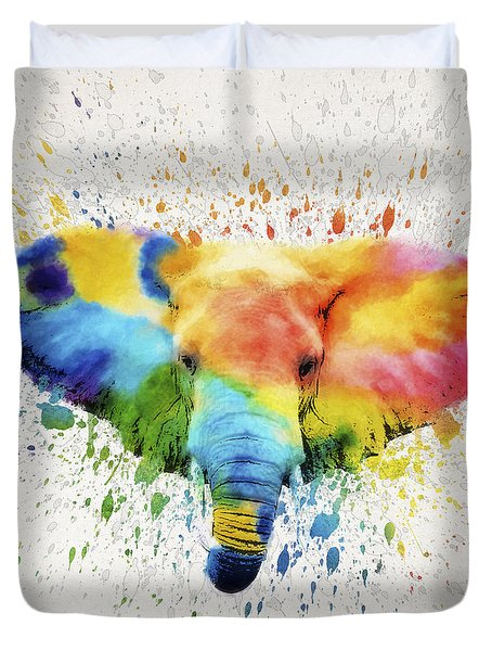 Elephant Splash Duvet Cover by Aged Pixel