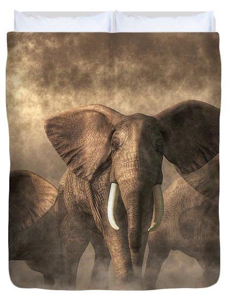 Elephant Stampede Duvet Cover