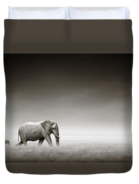 Elephant With Zebra Duvet Cover