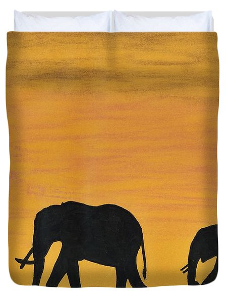 Elephants - At - Sunset Duvet Cover by D Hackett